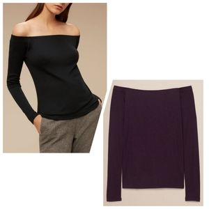 Aritzia Babaton Oguchi off shoulder top purple XXS